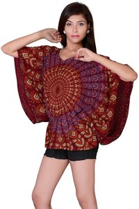 Rayon Mandala Maroon Color Balloon Top
