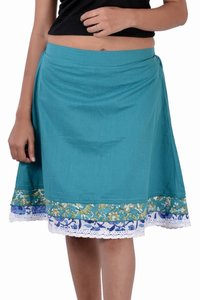 Cotton Women Solid Casual Wear C.Green Short Skirt