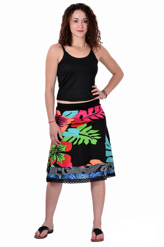 Viscose Lycra Printed Casual Wear Black Short Skirt