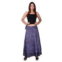 Poly Crepe Floral Print Wrap-Around Long Purple Skirt