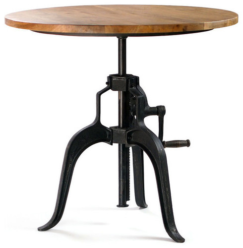 vintage industrial hand crank mechanism bistro table