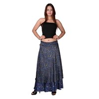 Poly Crepe Printed Women Wrap Around Blue Color Long Skirt