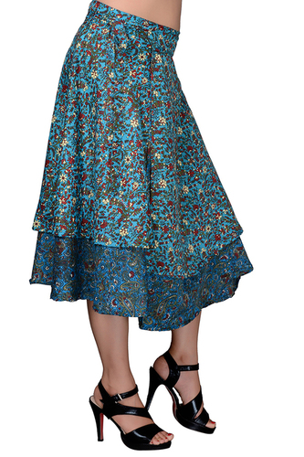 Poly Crepe Women Wrap Around Sky-Blue Party Wear Medium Skirt