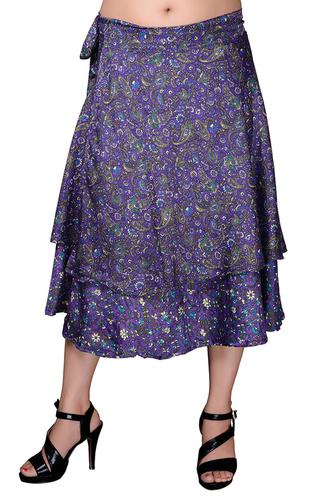 Poly Crepe Wrap Around Purple Paisley Print Medium Skirt