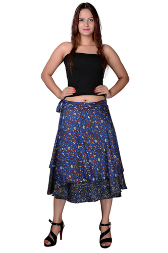 Poly Crepe Women Wrap-Around Black Medium Skirt
