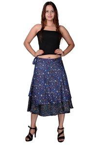Poly Crepe Women Wrap-Around Black Medium Skirt