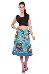 Cotton Printed Wrap-Around C.Green Casual Wear Skirt