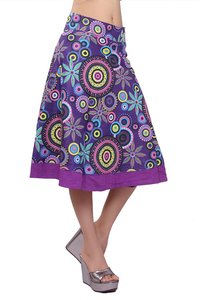 Cotton Printed Women Wrap Around Purple Party Wear Skirt