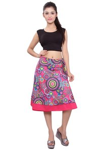 Cotton Printed Women Wrap Around Pink Skirt
