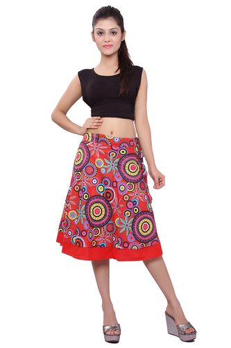 Cotton Floral Print Women Wrap Around Red Party Wear Skirt