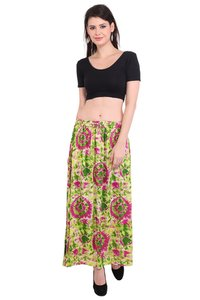Rayon Tie-Dye Beachwear Women Black Color Long Skirt