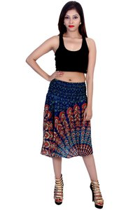 Rayon Mandala Green Color 2 in 1 Skirt