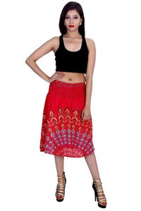 Rayon Mandala Red Color 2 in 1 Skirt