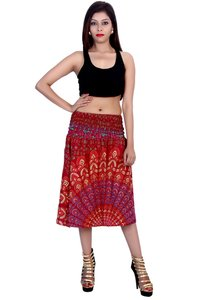 Rayon Mandala Maroon Color 2 in 1 Skirt