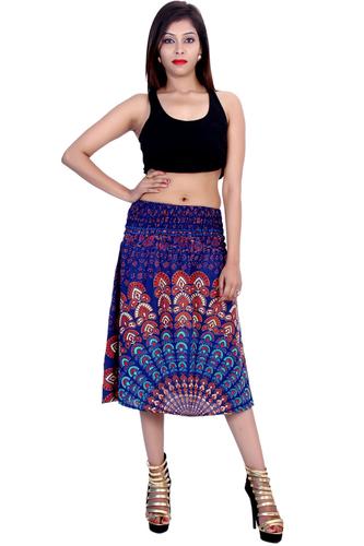 Rayon Mandala Blue Color 2 in 1 Skirt