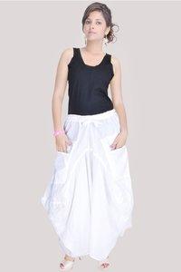 Cotton Plain White Color Long Skirt