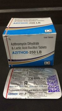 AZITHROMYCIN 250 MG. + LACTIC AID BACCILUS 60 MS.