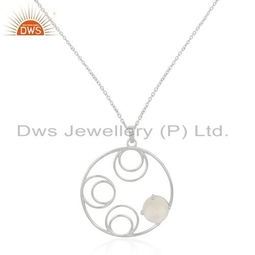 Fine Silver Rainbow Moonstone Pendant Jewelry