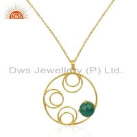 Designer Gold Plated Silver Green Onyx Gemstone Pendant Jewelry