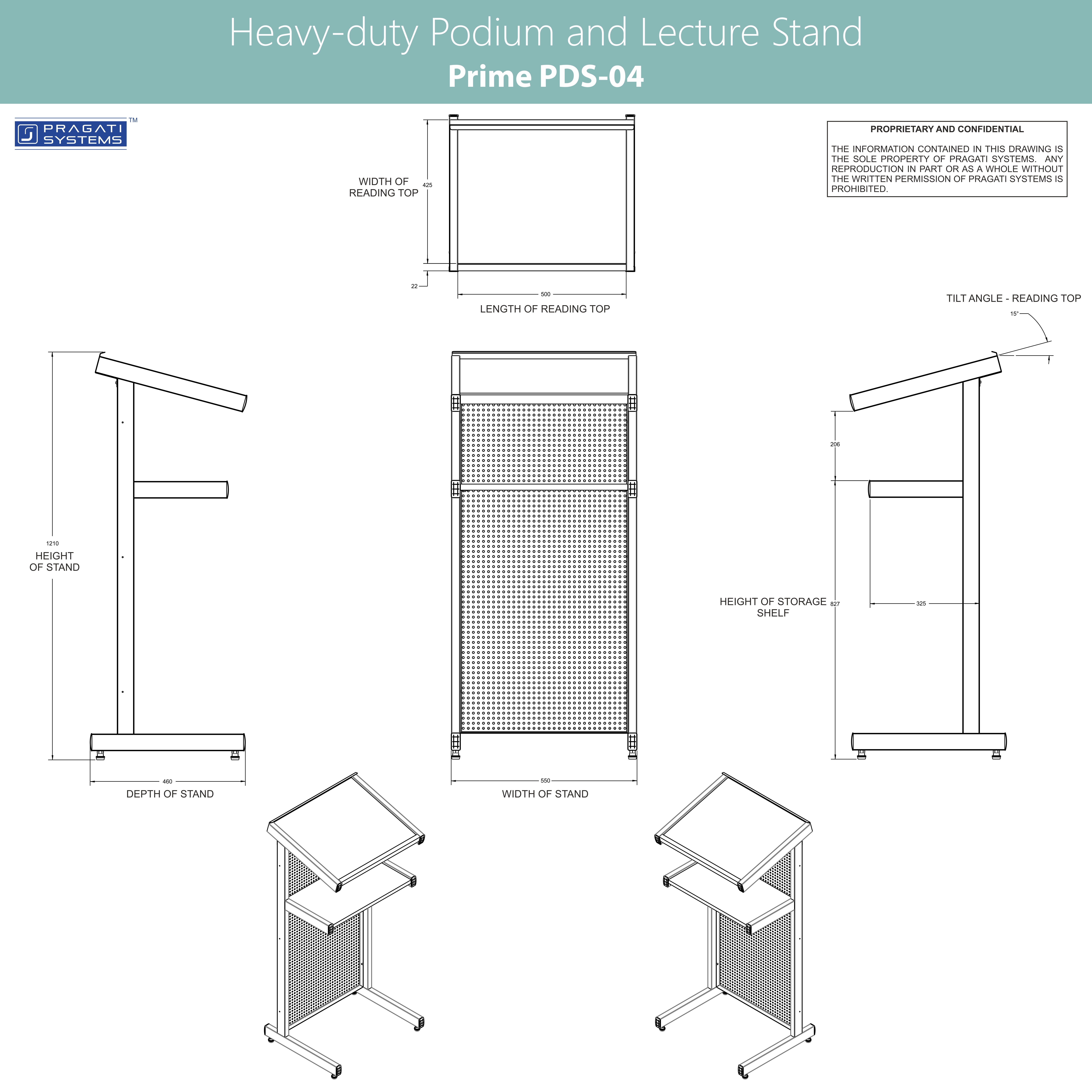 MDF and Steel Heavy-duty Lecture Stand PDS-04