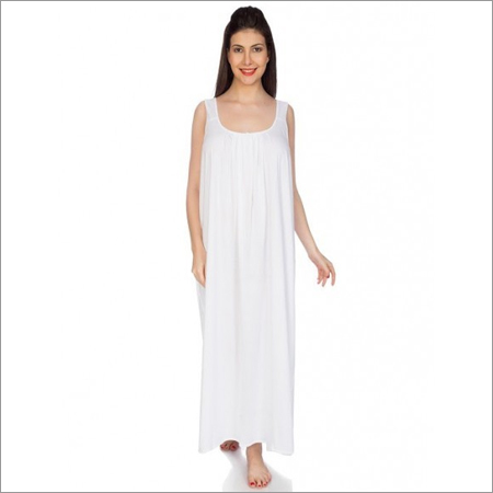 Ladies White Color Cotton Nighty