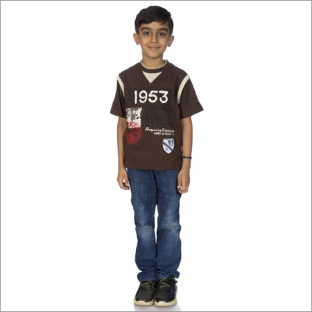 Boy Dark Grey 100% Comed Knitted Cotton T-Shirts