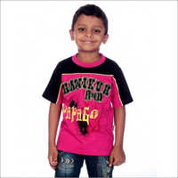Boy Pink and Black 100% Cotton T-shirt