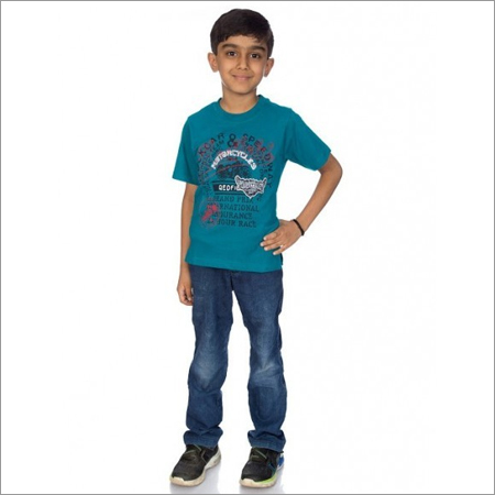 Boy Green 100% Comed Knitted Cotton T-Shirt
