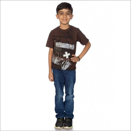 Boy Maroon 100% Comed Knitted Cotton T-Shirt