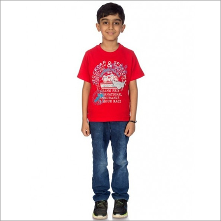 Boy Red 100% Comed Knitted Cotton T-Shirt
