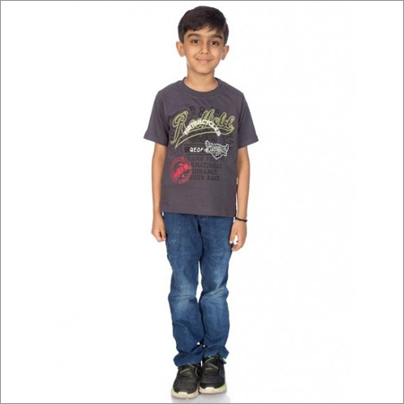Boy Grey 100% Comed Knitted Cotton T-Shirt