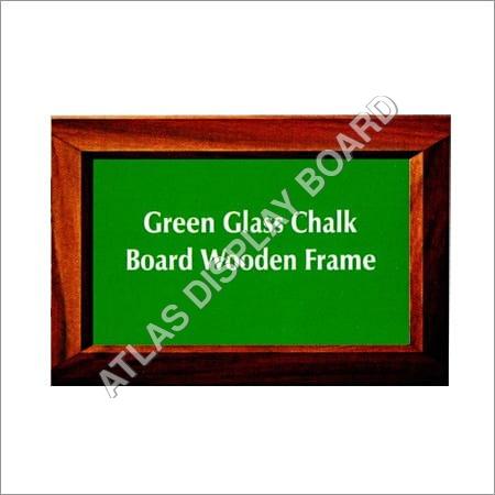 Green Glass Chalk Board Wooden Frame