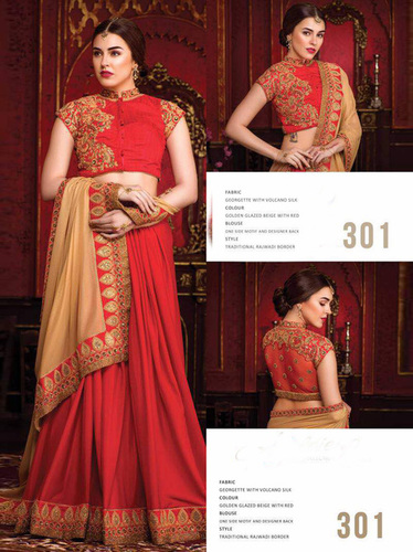 Red Sequin Designer Saree