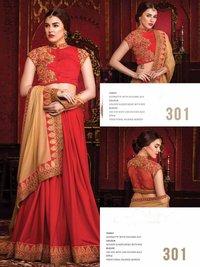 Red Sequin Designer Saree