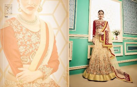 Bridal Wear Cream Lehenga Choli