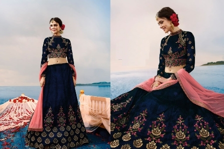 Navy Blue Bridal Wear Lehenga Choli