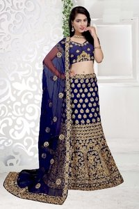Navy Blue Bridal Wear Lehenga
