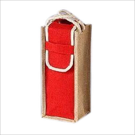 Jute Wine Single Bottle Bag
