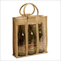 Jute Wine Three Bottle Bag