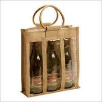 Jute Wine Three Bottle Bag
