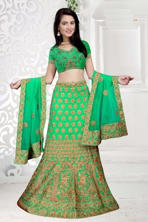 Light Green Heavy Designed Wedding Wear  Lehenga