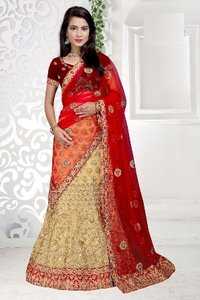 Cream And Orange Designer Lehenga