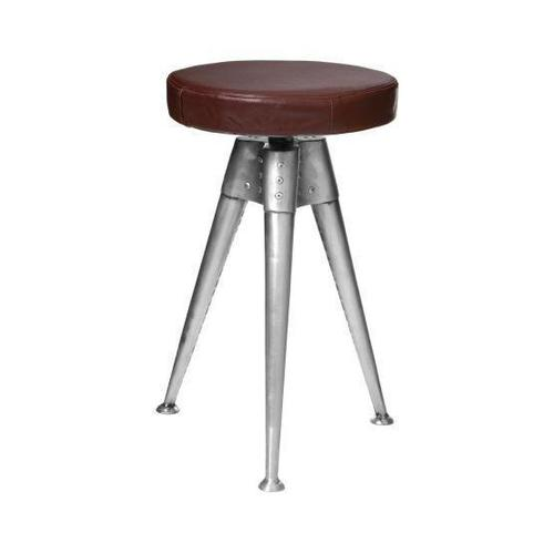 aviation metal tripod leather seat barstool