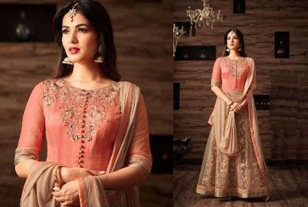 Cream Designer Anarkali Suit