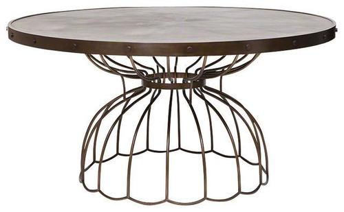 Iron Top & Cage Legs Industrial Dining Table