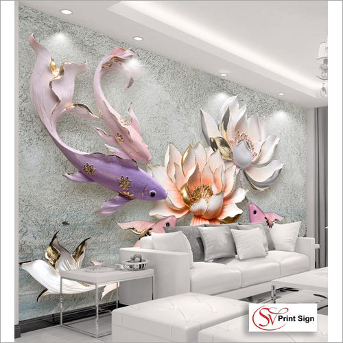 3D Flower Print Wallpaper