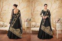 Embroidery Designed Black Anarkali Suit