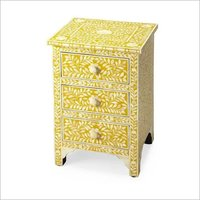Yellow & White Bone Inlay Bedside Table With 3 Drawers