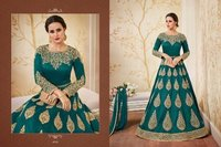 Green Embroidery Desgned Anarkali Suit