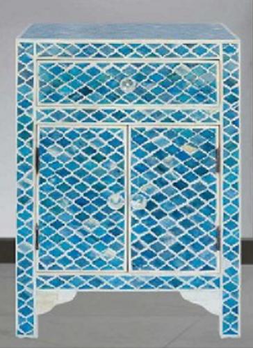 Indian handmade bone inlay bedside cabinet
